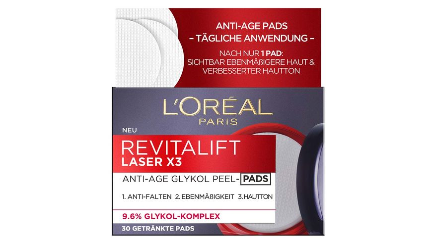L OREAL PARIS REVITALIFT Laser X3 Anti Age Glykol Peel Pads