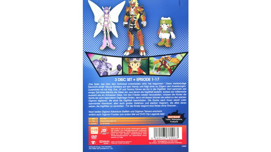 Digimon Frontier Volume 1 Episode 01 17 im Sammelschuber 3 DVDs