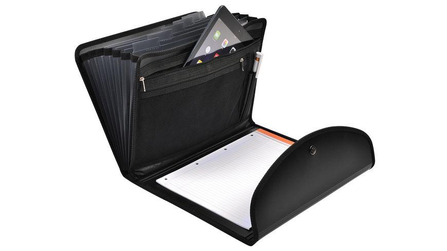 EXACLAIR Ordnungsmappe Exafolio mit Notizblock und Tasche Exactive 6 Faecher schwarz