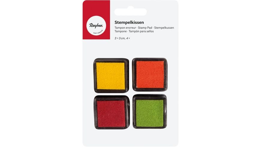 Rayher Mini Stempelkissen Set Fruehling 3x3 cm 4 Stueck