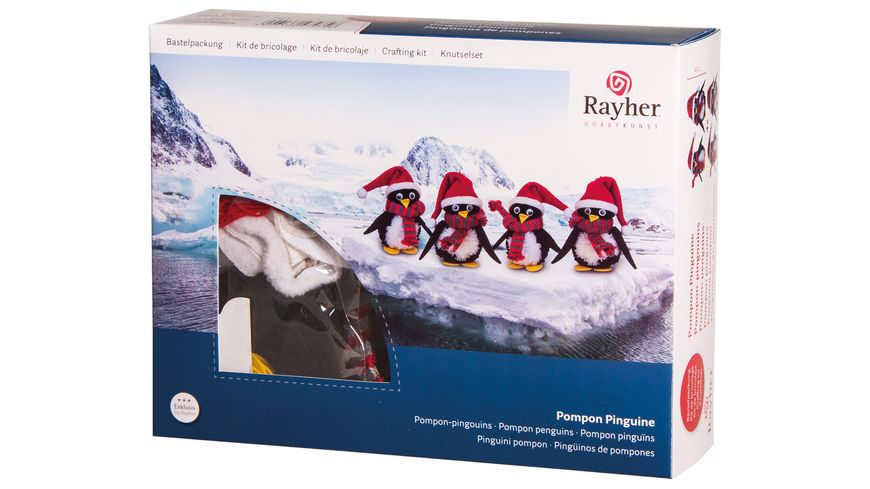 Rayher Bastelpackung Pompon Pinguine 11 5 cm