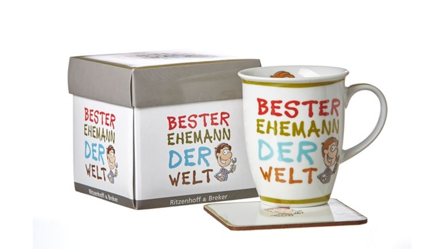 RITZENHOFF BREKER Becher mit Untersetzer BESTE EHEMANN