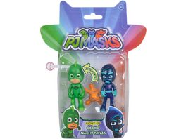 Simba PJ Masks Pyjamahelden Figuren Set Light Up Gekko und Night Ninja