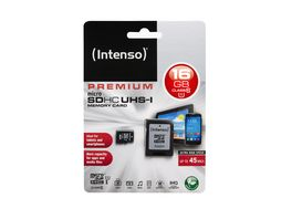Intenso MicroSDHC 16GB Class 10 UHS I inkl Adapter
