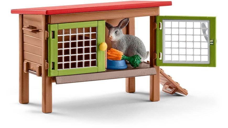 Schleich 42420 Farm World Kaninchenstall mit Kaninchen und Futter