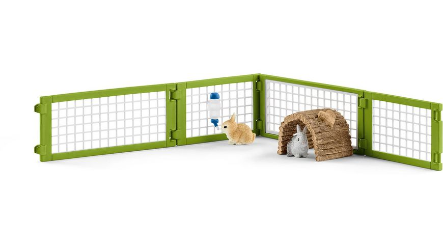 Schleich Farm World Kaninchenstall mit Kaninchen und Futter