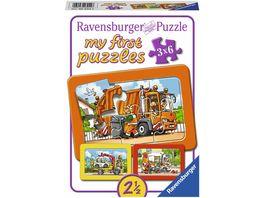 Ravensburger Puzzle Muellabfuhr Krankenwagen Abschleppwagen 3x6 Teile