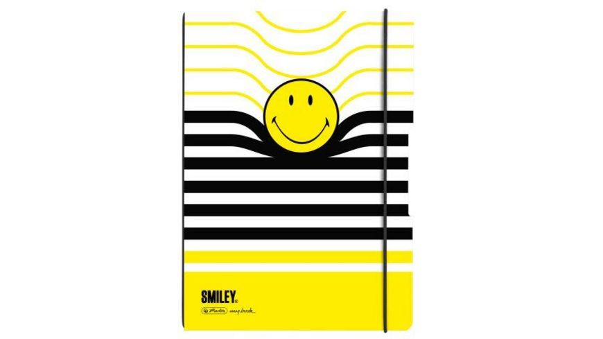 my book flex Notizheft A4 Smiley Black Yellow liniert kariert