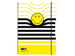 my book flex Notizheft A4 Smiley Black Yellow liniert kariert