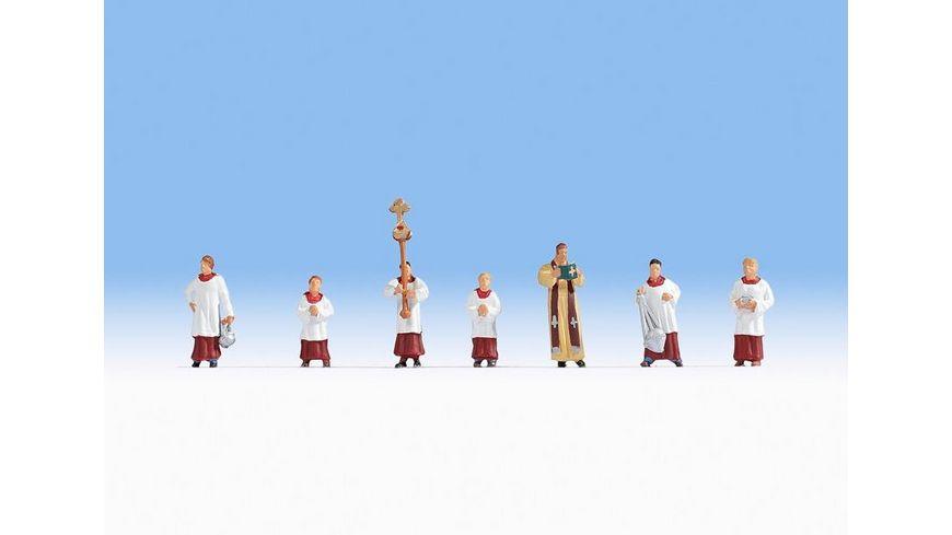 NOCH 15410 H0 FIGUREN - H0 - Pfarrer und Ministranten, 1 Pfarrer + 6 Ministranten