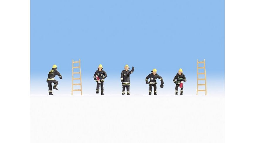 NOCH 36021 N Feuerwehr schwarze Schutzanzuege 5 Figuren 2 Leitern