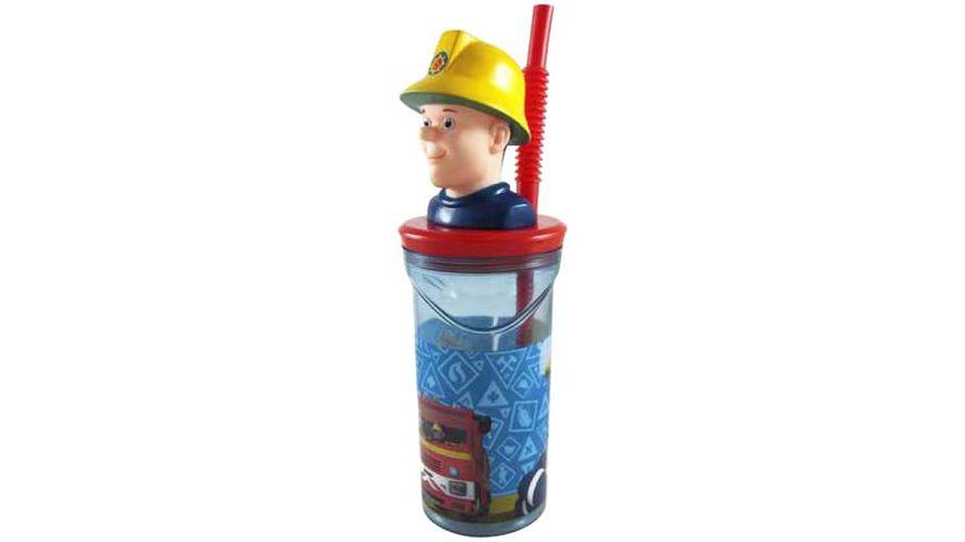 p os Handel Feuerwehrmann Sam 3D Trinkbecher mit Strohhalm