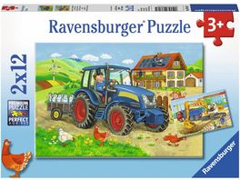 Ravensburger Puzzle Baustelle und Bauernhof 2 x 12 Teile