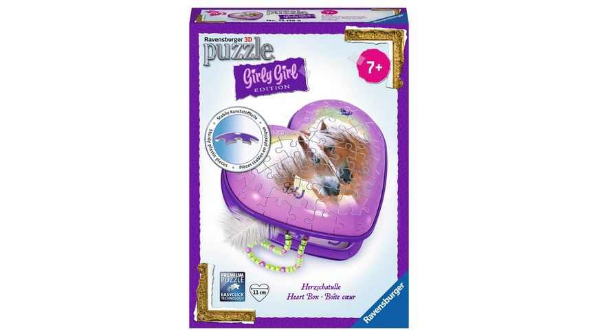 Ravensburger Puzzle 3D Puzzles Girly Girl Edition Herzschatulle Pferde