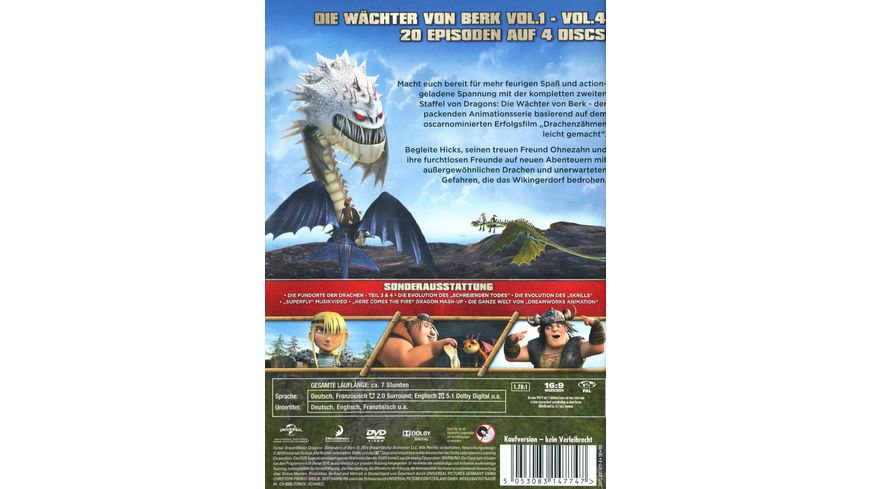 Dragons Die Waechter von Berk Staffel 2 Vol 1 4 4 DVDs