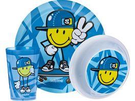zak Kinder Geschirrset Smiley blau