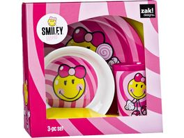 zak Kinder Geschirrset Smiley rosa