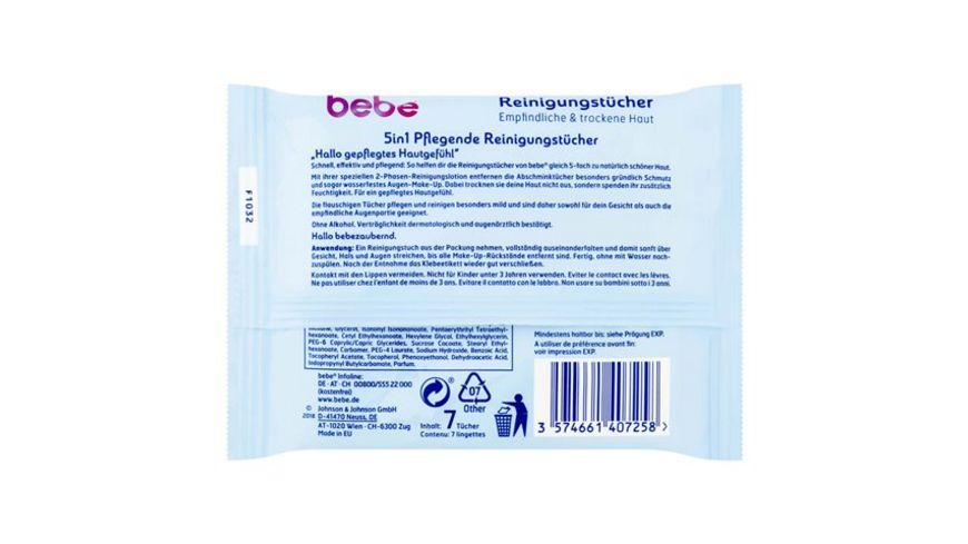bebe 5in1 Pflegende Reinigungstuecher Mini Format