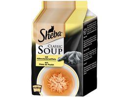 SHEBA Portionsbeutel Classic Soup mit Huehnchenbrustfilets 4 x 40g Multipack