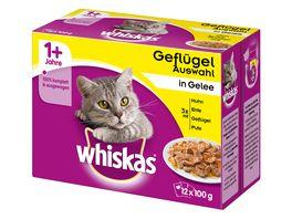 Whiskas Katzennassfutter 1 Gefluegelauswahl in Gelee 12x100g Portionsbeutel Multipack
