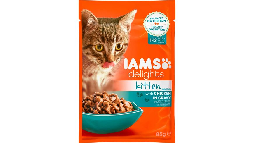 IAMS Delights Katzennassfutter Junior mit Huhn in Sauce