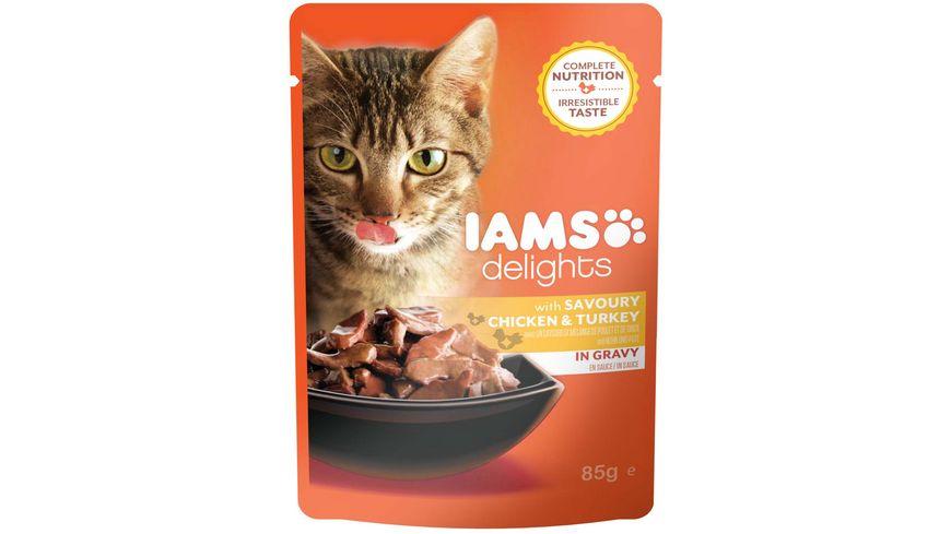 IAMS Delights Katzennassfutter mit Huhn Pute