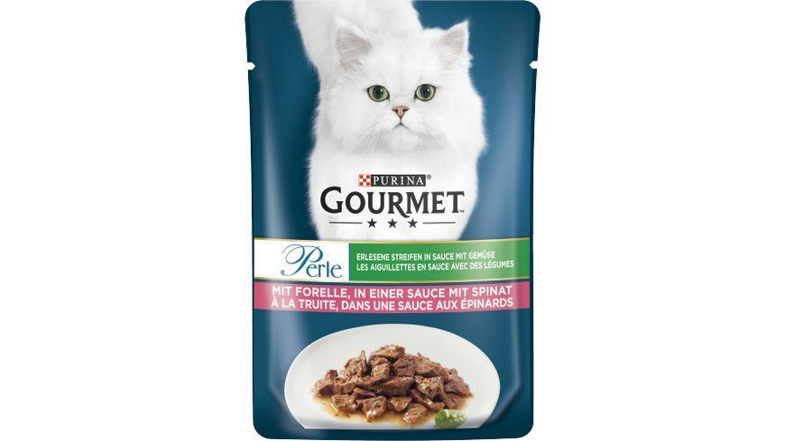 Purina GOURMET Katzennassfutter Perle Erlesene Streifen mit Gemuese mit Forelle in einer Sauce mit Spinat