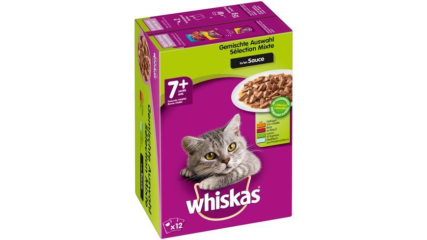 Whiskas Katzennassfutter 7 Gemischte Auswahl in Sauce 12x100g Portionsbeutel Multipack