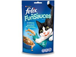 felix Katzensnacks Topping FUNSAUCES mit leckerem Geschmack von geduensteten Meeresfruechten 5x15 g Beutel