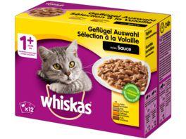 Whiskas Katzennassfutter 1 Gefluegelauswahl in Sauce 12X100G Portionsbeutel Multipack