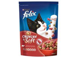felix Katzentrockenfutter Crunchy Soft mit Rind Huhn und Gemuesezugabe