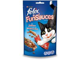 felix Katzensnacks Topping FUNSAUCES mit koestlichem Geschmack von gebratenem Rind 5x15 g Beutel