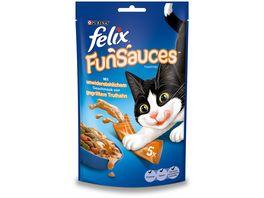 felix Katzensnacks Topping FUNSAUCES mit unwiderstehlichem Geschmack von gegrilltem Truthahn 5x15 g Beutel