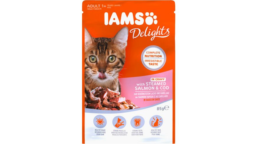 IAMS Delights Katzennassfutter mit Lachs Kabeljau