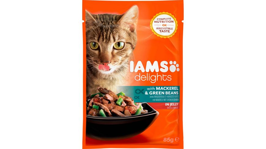 IAMS Delights Katzennassfutter mit Makrele Bohnen