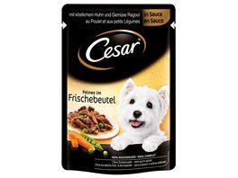 Cesar Hundenassfutter mit Huhn und Gemuese in Sauce
