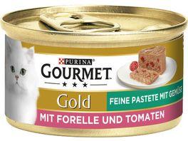 Purina GOURMET Katzennassfutter Gold Feine Pastete mit Forelle Tomaten