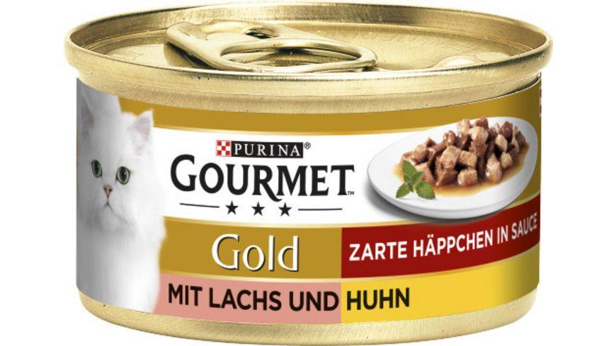 Purina GOURMET Katzennassfutter Gold Zarte Haeppchen mit Lachs Huhn