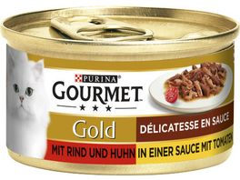 Purina GOURMET Katzennassfutter Gold Delicatesse en Sauce mit Rind Huhn in Tomatensauce