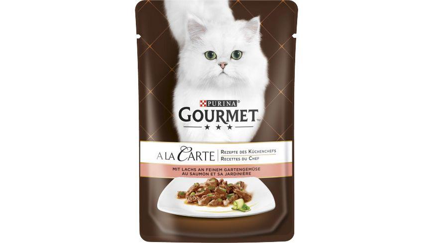 Purina GOURMET Katzennassfutter A la Carte mit Lachs an feinem Gartengemuese