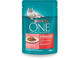 Purina ONE Katzennassfutter Sterilcat mit Lachs und Karotten 24x85g Portionsbeutel