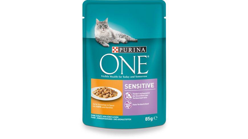 Purina ONE Katzennassfutter Sensitive mit Huhn und Karotten Portionsbeutel