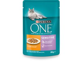 Purina ONE Katzennassfutter Sensitive mit Huhn und Karotten 24x85g Portionsbeutel