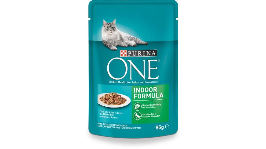 Purina ONE Katzennassfutter Indoor Formula mit Thunfisch und gruenen Bohnen 24x85g Portionsbeutel