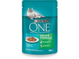 Purina ONE Katzennassfutter Indoor Formula mit Thunfisch und gruenen Bohnen Portionsbeutel