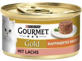 Purina GOURMET Katzennassfutter Gold Raffiniertes Ragout mit Lachs