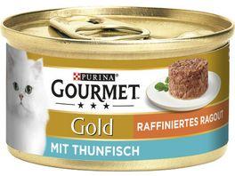 Purina GOURMET Katzennassfutter Gold Raffiniertes Ragout mit Thunfisch