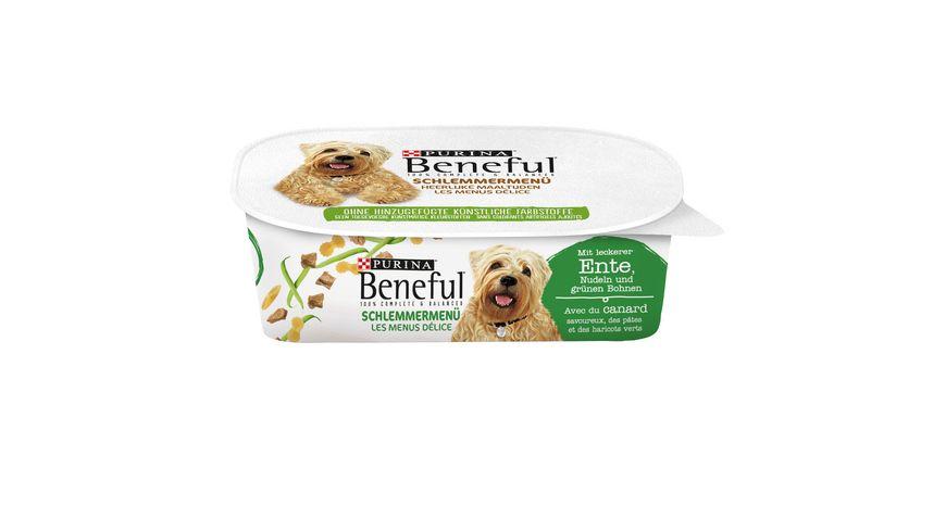 Purina Beneful Hundenassfutter Schlemmermenue mit leckerer Ente Nudeln und gruenen Bohnen