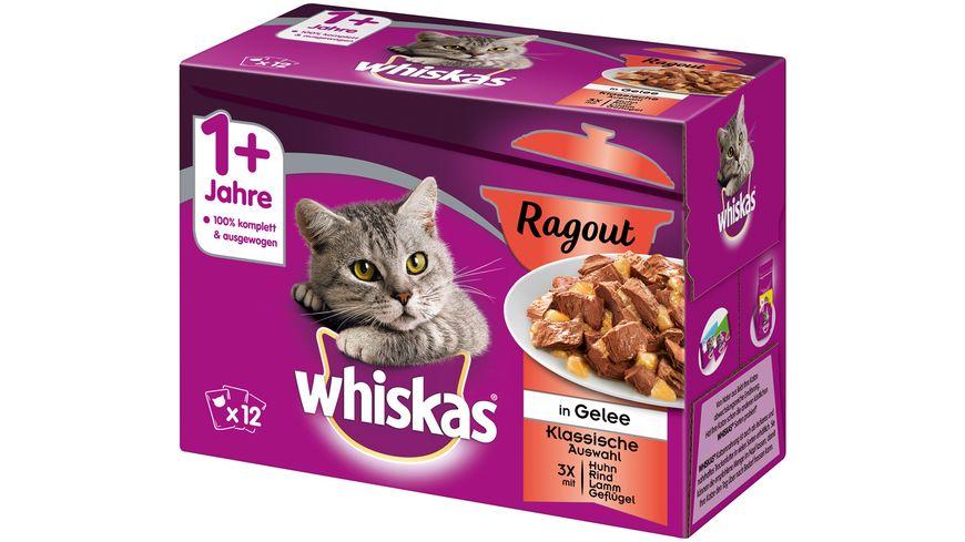Whiskas Katzennassfutter 1 Ragout Klassische Auswahl in Gelee Portionsbeutel
