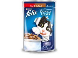 felix Katzennassfutter So gut wie es aussieht Doppelt Lecker in Gelee mit Rind und Gefluegel